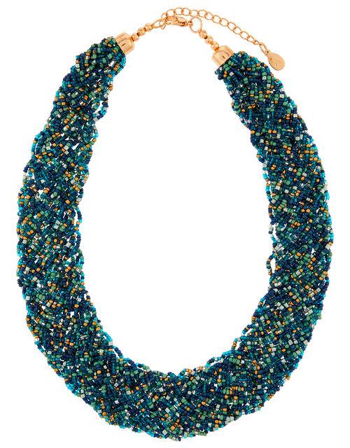 Chunky Beaded Bib Necklace, , large
