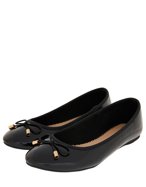 Patent Ballerina Flat Shoes, Black (BLACK), large