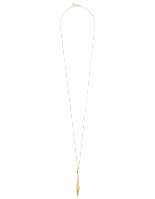 Gold-Plated Faceted Stone Long Necklace , , large
