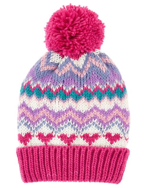 Heart Fairisle Pom-Pom Beanie Hat, Multi (BRIGHTS-MULTI), large