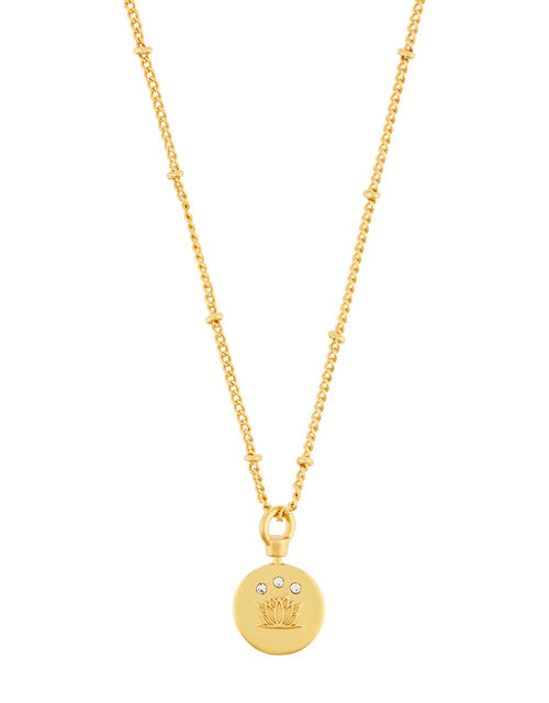 Gold-Plated Lotus Flower Pendant Necklace, , large
