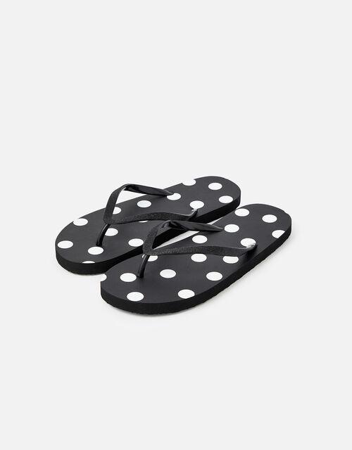 Spot Print Flip Flops , Black (BLACK), large