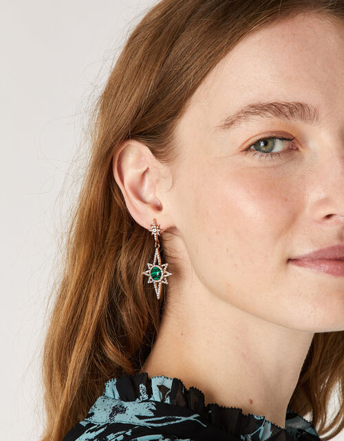 Malachite Sparkle Star Drop Earrings, , large