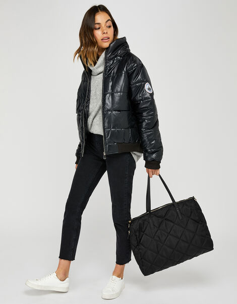 Harri Quilted Weekender Bag Black, Black (BLACK), large
