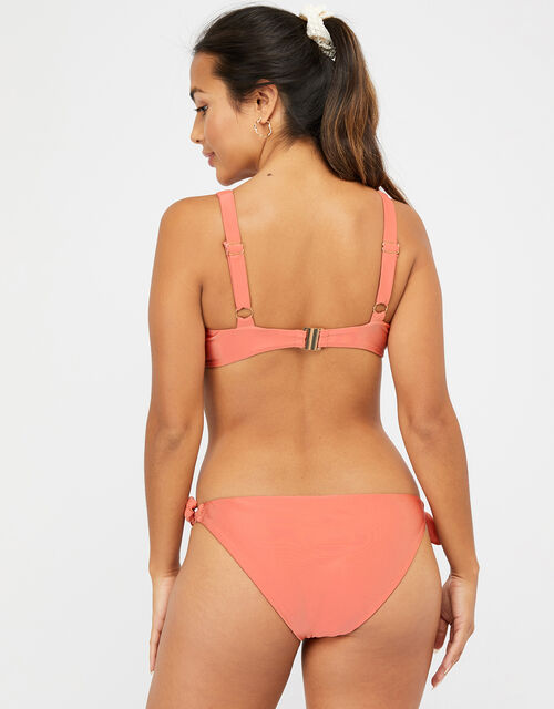 Tie Front Bikini Top, Orange (CORAL), large