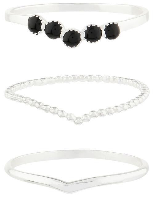 Sterling Silver Wishbone Stacking Ring Set, Black (BLACK), large