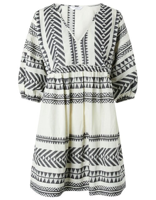 Patterned Jacquard Smock Dress in Pure Cotton, Black (BLACK/WHITE), large