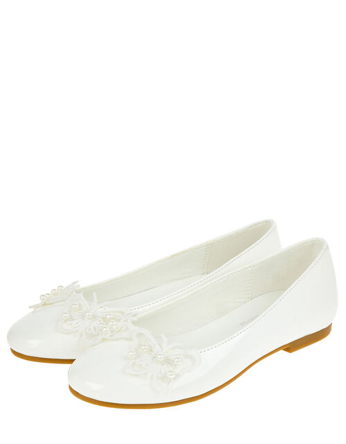 Patent Butterfly Embellished Ballet Flats, Natural (IVORY), large