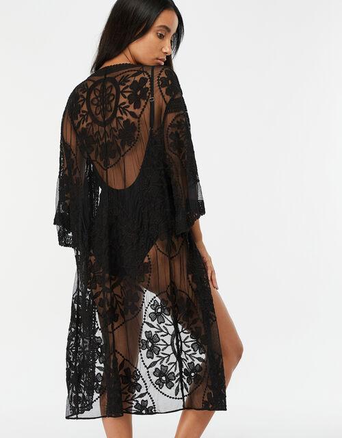 Jaki Long Lace Kimono, Black (BLACK), large