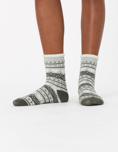 Fairisle Lined Cosy Socks, , large