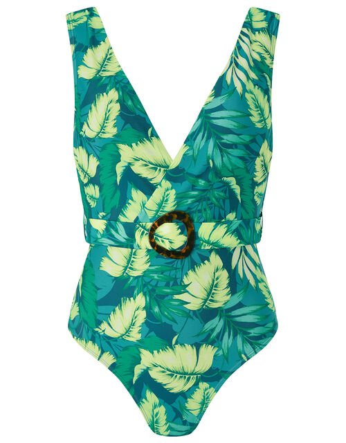 Leaf Print Belted Plunge Swimsuit, Green (GREEN), large