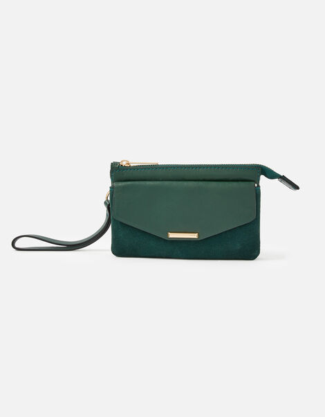 Wristlet Leather Wallet Green, Green (GREEN), large