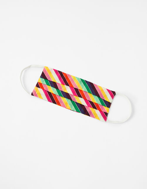 Rainbow Stripe Face Covering in Pure Cotton, , large