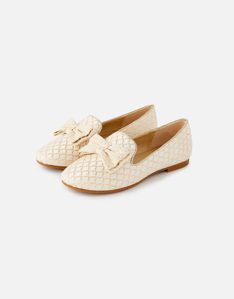 Jacquard Bow Slippers  Gold, Gold (GOLD), large