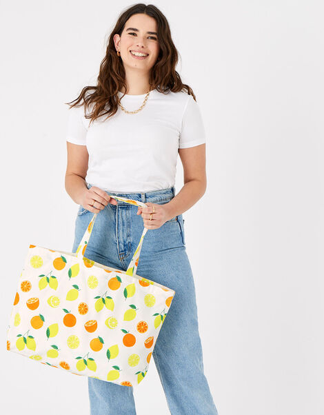 Lemon Print Canvas Shopper Bag , , large