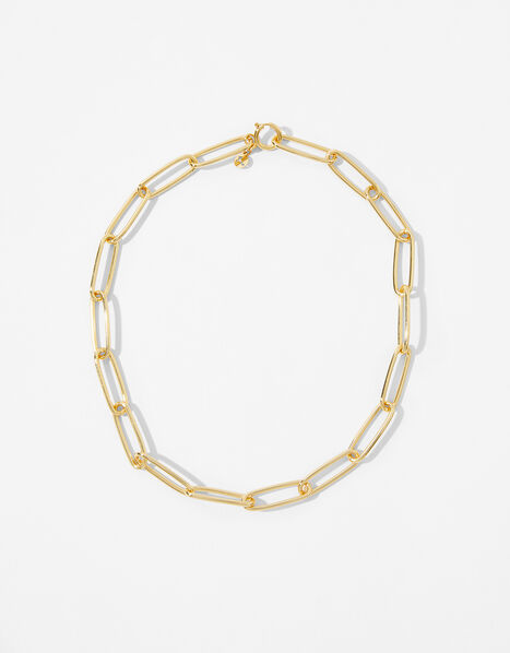 Gold-Plated Long Link Chain Necklace, , large