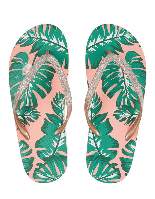 Palm Print EVA Flip Flops, Pink (PINK), large