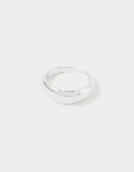 Reconnected Round Edge Band Ring Silver, Silver (SILVER), large