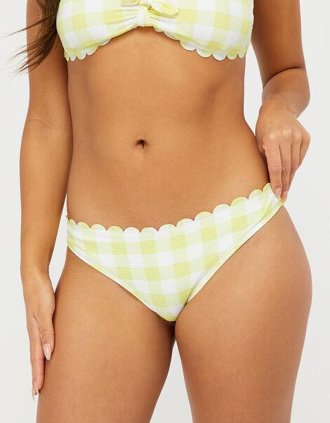 Sasha Gingham Scalloped Bikini Briefs Yellow, Yellow (YELLOW), large