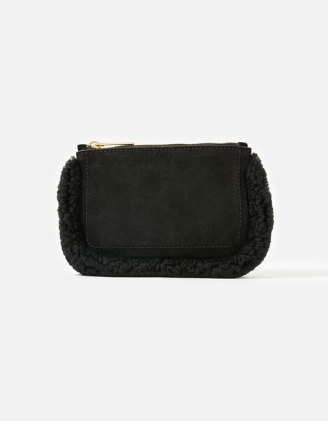 Shearling Leather Pouch Black, Black (BLACK), large