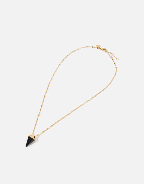 Gold-Plated Healing Stone Onyx Pendant Necklace, , large