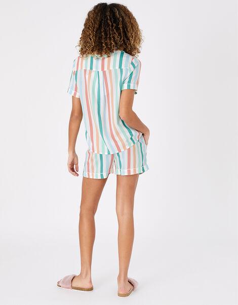 Stripe Shirt and Shorts PJ Set Multi, Multi (BRIGHTS-MULTI), large