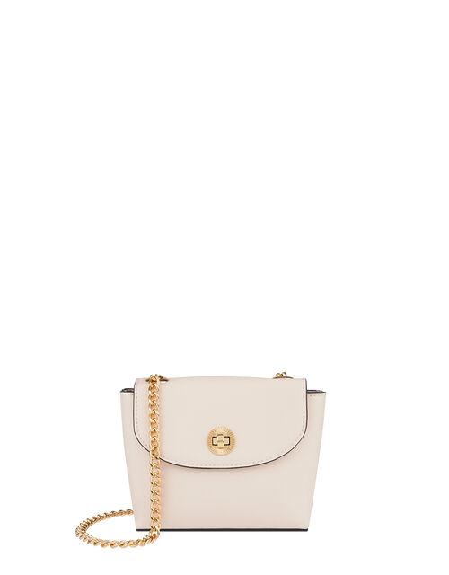 Mini Cross-Body Bag with Chain Strap, White (WHITE), large