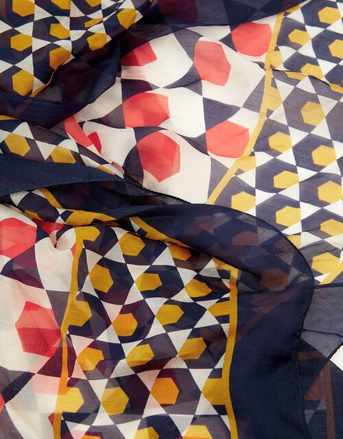 Geo Print Square Scarf in Pure Silk, , large