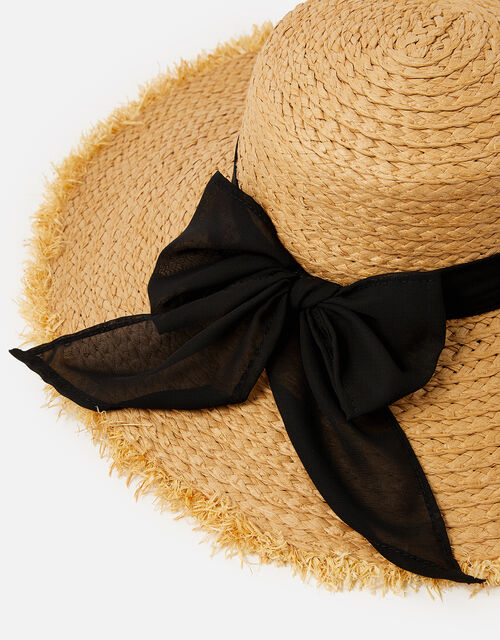 Frayed Edge Boater Hat , Natural (NATURAL), large