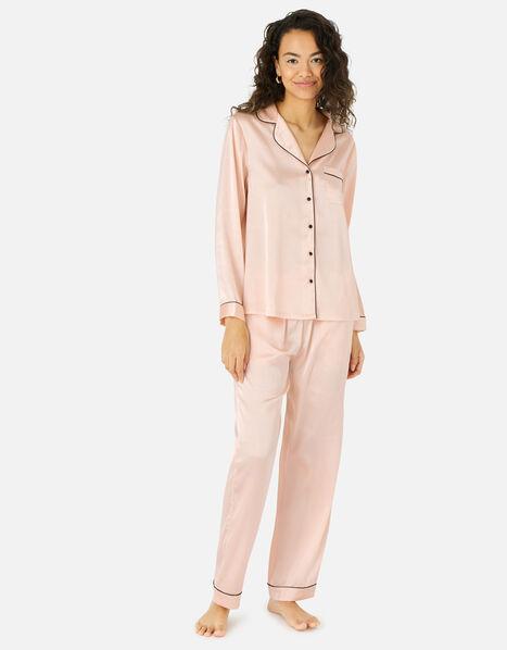 Satin Full Length Pyjama Set Pink, Pink (PINK), large