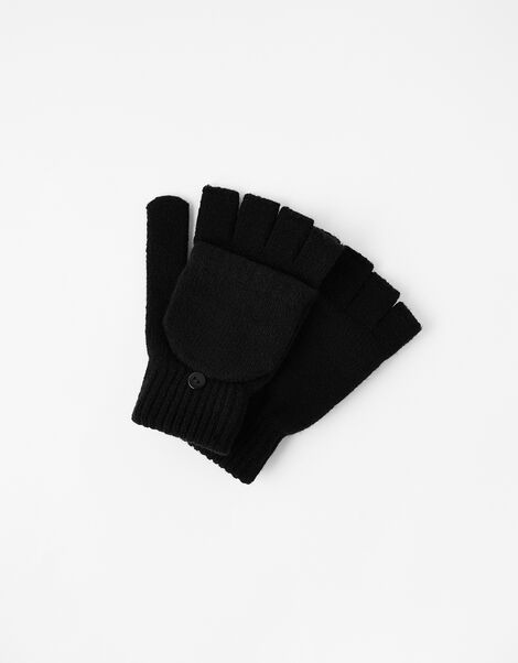 Plain Capped Gloves Black, Black (BLACK), large
