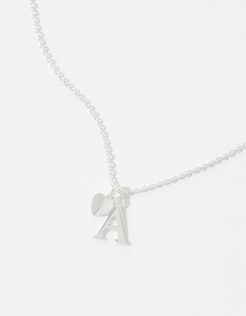 Sterling Silver Heart Initial Necklace - A, , large