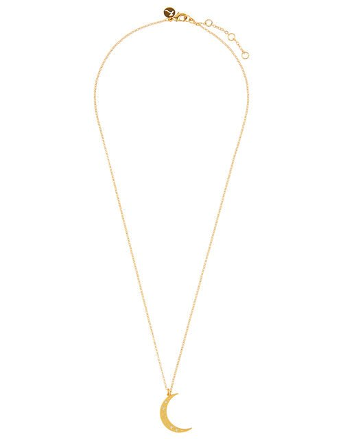 Gold-Plated Be Kind Moon Pendant Necklace, , large