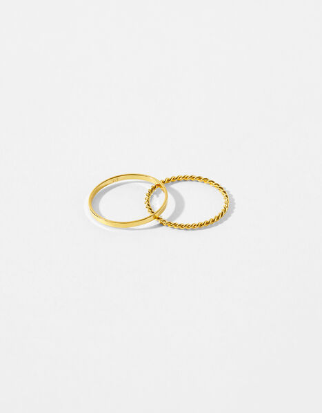 Gold-Plated Stacking Band Ring Set Gold, Gold (GOLD), large