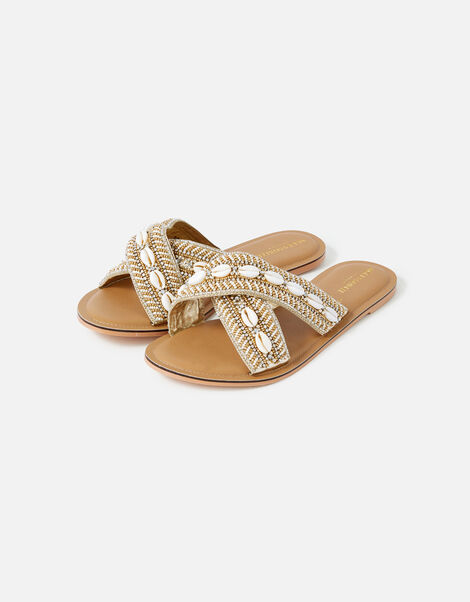 Cowrie Shell Beaded Cross-Over Sandals Natural, Natural (NATURAL), large