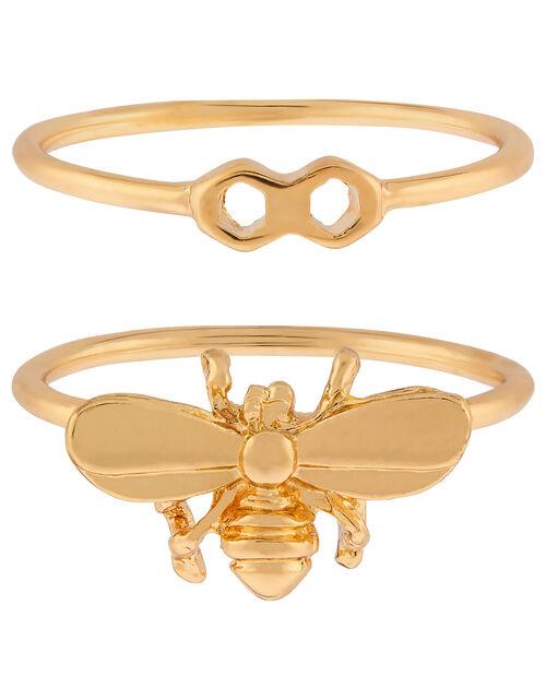 Bee Stacking Ring Set, Gold (GOLD), large