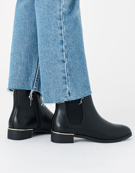 Metal Heel Chelsea Boots Black, Black (BLACK), large