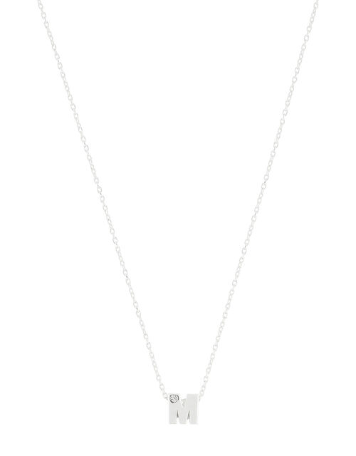Sterling Silver Sparkle Initial Necklace - M, , large
