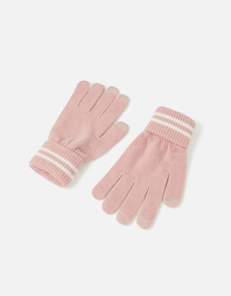 Varsity Stripe Touchscreen Gloves Pink, Pink (PALE PINK), large