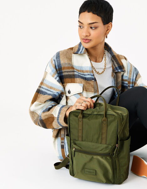 Frida Canvas Backpack  Green, Green (KHAKI), large