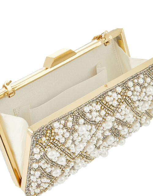 Pippa Pearl, Crystal and Bead Hardcase Clutch Bag, , large
