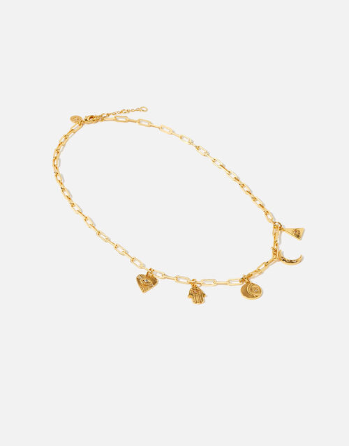 Gold-Plated Talisman Collar Necklace, , large