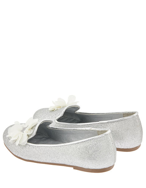 Glitter Slipper Shoe with Corsage Silver, Silver (SILVER), large