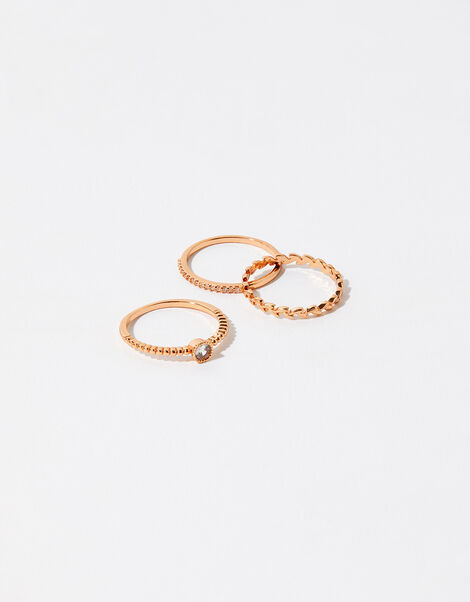Rose Gold-Plated Vine Ring Set Gold, Gold (ROSE GOLD), large