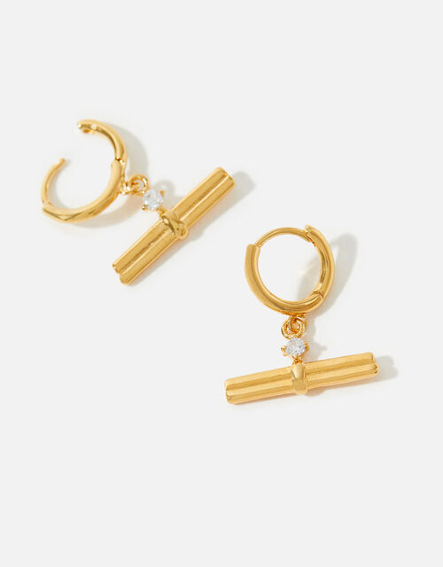 Gold-Plated Sparkle T-Bar Earrings, , large