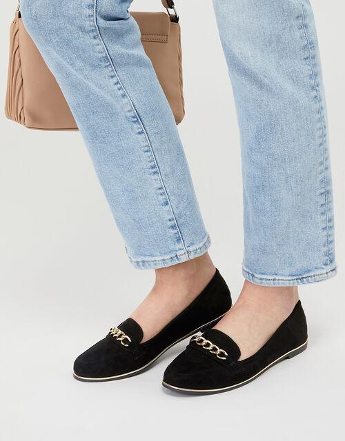 Chain Loafer Shoes, Black (BLACK), large