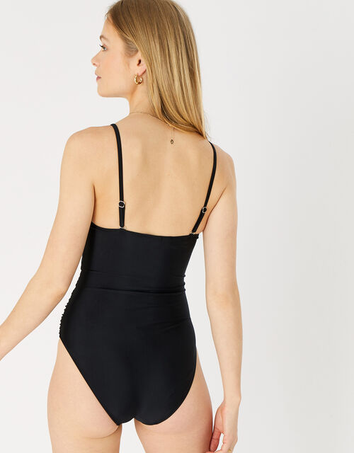 Ruched Shaping Swimsuit, Black (BLACK), large