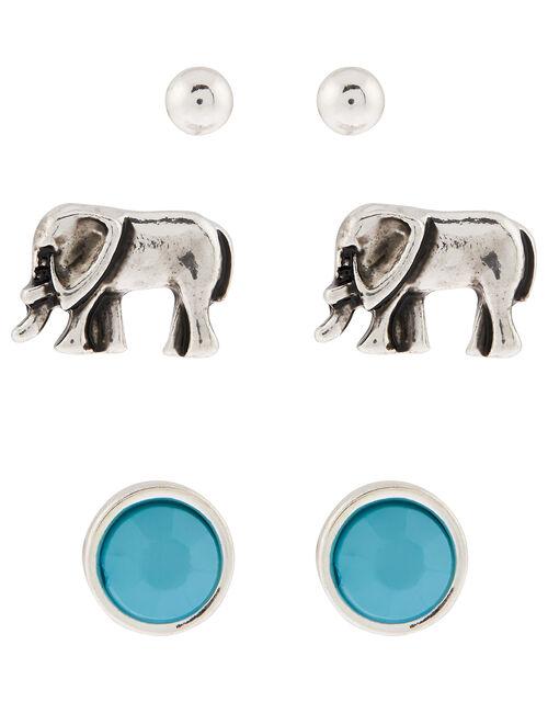 Elephant Stud Earring Set, , large