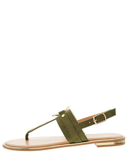 Ring Detail Sandals, Green (KHAKI), large