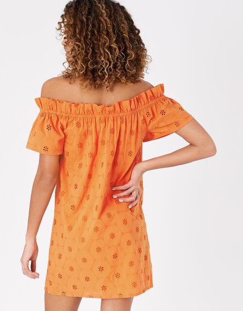 Schiffli Bardot Dress in Organic Cotton, Orange (ORANGE), large